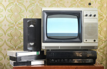Old Silver-colored TV With A V...