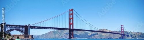 Low Angle View Of Golden Gate Bridge Against Clear Sky Canvas Print