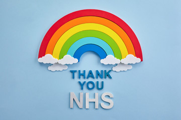 Thank you nhs rainbow banner. Rainbow ob blue background with letters