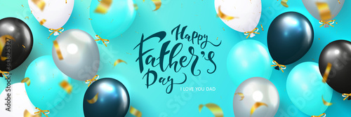 Fototapeta Happy fathers day poster with flying balloons and serpentine. Template design for postcard, flyer,banner, invitation.Vector illustration obraz