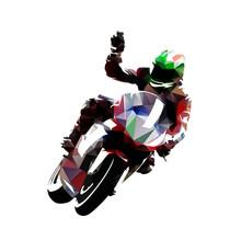 Motorbike Rider Celebrates Vic...
