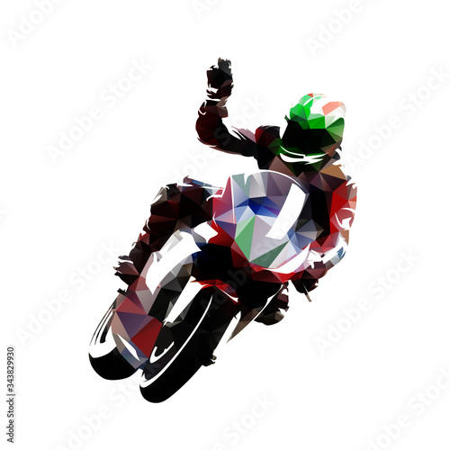 Motorbike rider celebrates victory. Isolated low poly vector illustration. Motorsport racing Wall mural