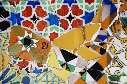 Broken glass mosaic tile, decoration in Park Guell, Barcelona, Spain Canvas Print