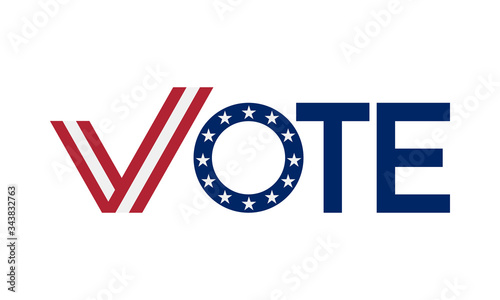 Valokuva vote word united states style with check mark, vector illustration