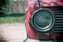 Headlight Of A Vintage Car. Ol...