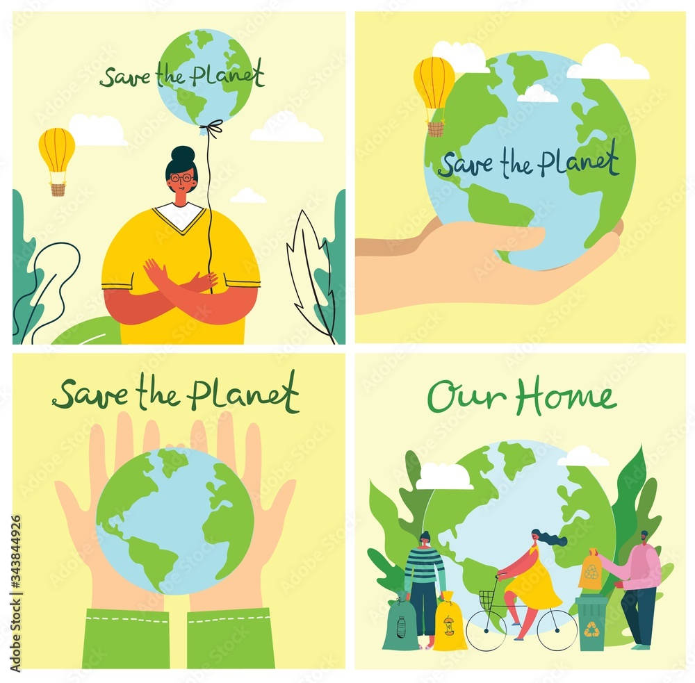 Fototapeta Vector illustration ECO background of Concept of green eco energy and quote Save the planet.