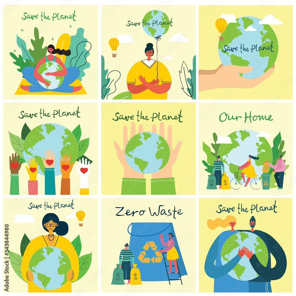 Fototapeta Vector illustration ECO backgrounds of Concept of green eco energy and quote Save the planet.