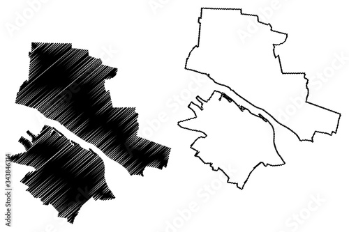 Valokuvatapetti Plock City (Republic of Poland, Masovian Voivodeship) map vector illustration, s