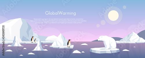 Global warming ice landscape vector illustration Fototapeta