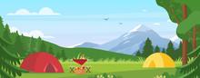 Summer Camping Vector Illustra...