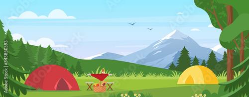 Summer camping vector illustration Fototapet