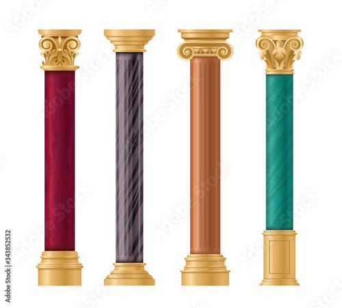 Fotomural Pillars vector illustration architectural set