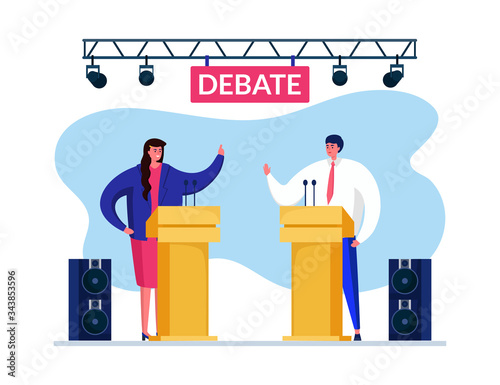 Debate speach vote, vector illustration Wallpaper Mural