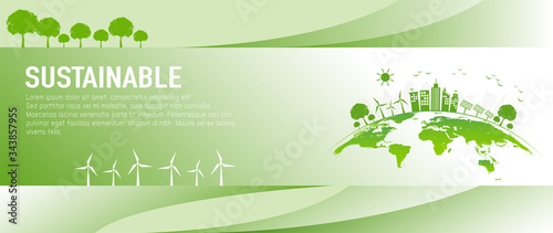 Banner design for sustainable development and eco friendly concept with green city and world environment day, vector illustration