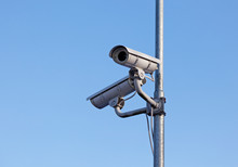 Surveillance Cameras Mounted On A Lamp Post
