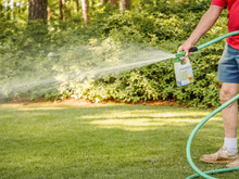Man Fertilizing Residential Ba...