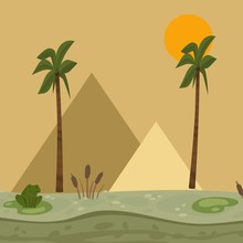 Egypt Landscape, Pyramid Vecto...