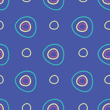 Hoops Circles And Rings On Bright Blue Background Seamless Repeat Vector Pattern Surface Design