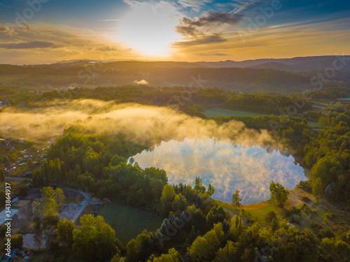 Karlovy vary, Czech republic- Czech landscape with morning mist Canvas Print