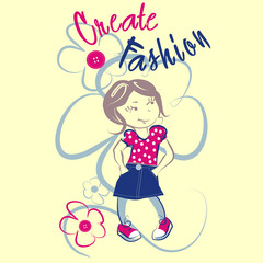 Funny little girl vector character illustration. Create fashion collection