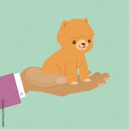 Pet kitten for gift, cute cat on hand for present or adopt pet concept vector illustration Wallpaper Mural