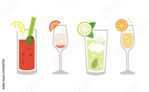 Fototapeta Brunch drinks set - isolated vector illustration obraz