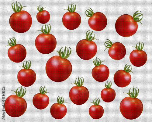Colorful food pattern made of tomatoes. add on grid line. Canvas Print