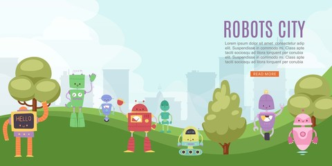 Robots toys city for kids banner with cute robots and transformers vector cartoon illustration. Children play ground with robotics machine cyborg and designing lessons.