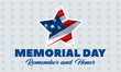 Memorial Day USA. Celebrated in the United States in May. Remember and Honor. Poster, card, banner, background design.