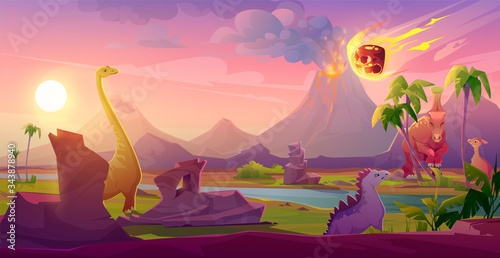 Dinosaurs extinct with meteorite falling on Earth Tablou Canvas