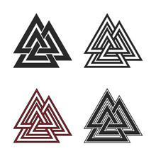 Valknut Symbols Flat And Line Style Vector Illustration