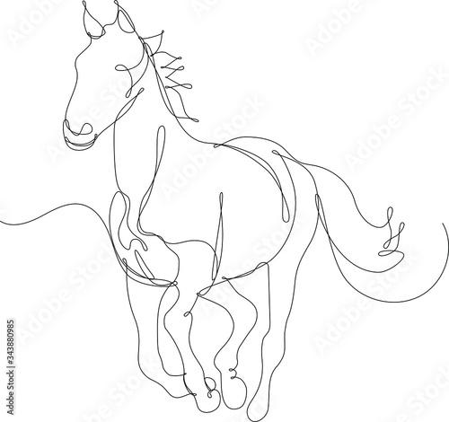 Fotografie, Obraz cavallo disegnato a singola linea continua