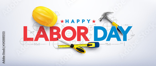 Obraz Labor Day poster template.International Workers' Day celebration with Yellow safety hard hat and construction tools.Sale promotion advertising   Poster or Banner for Labor Day - fototapety do salonu
