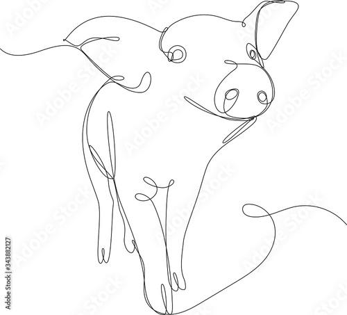 Tablou Canvas maialino disegnato a singola linea continua