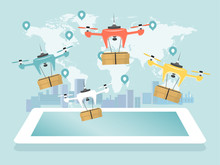 Online Delivery Remove Drone, Unmanned Aerial Vehicle Concept Flat Vector Illustration. Digital Device World Map And City Background, Technological Express Supply Post, Mail Service.