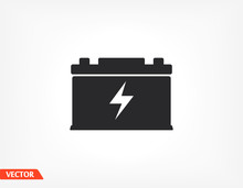 Car Battery Icon. Battery For Car. EPS 10 Vector Flat Design. The Work Is Done For Your Use For Your Purposes And Purposes.