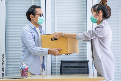 The male employee was fired and had to move the belonging of a friend Canvas Print