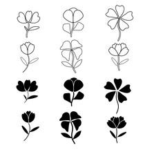Flowers Icon Set On White Back...