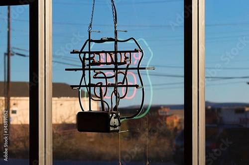 Close-up Of Route 66 Sign On Glass Window Canvas Print
