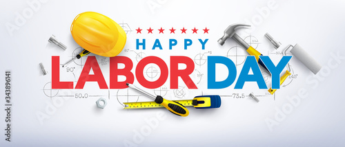 Labor Day poster template Fototapet