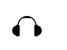Vector Headphones Icon. Black ...