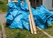 Viele Blaue Müllsäcke Renovierung Bauschutt