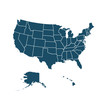High quality dark blue flat United States of America map. Travel, technology, country. Useful for web site, banner, greeting cards, apps and social media posts.