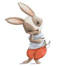 Cute Little Cartoon Hare With ...