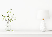 Interior Wall Mockup With Green Tree Branch In Vase And A Lamp Standing On The Shelf On Empty White Background With Free Space On Center. 3D Rendering, Illustration.
