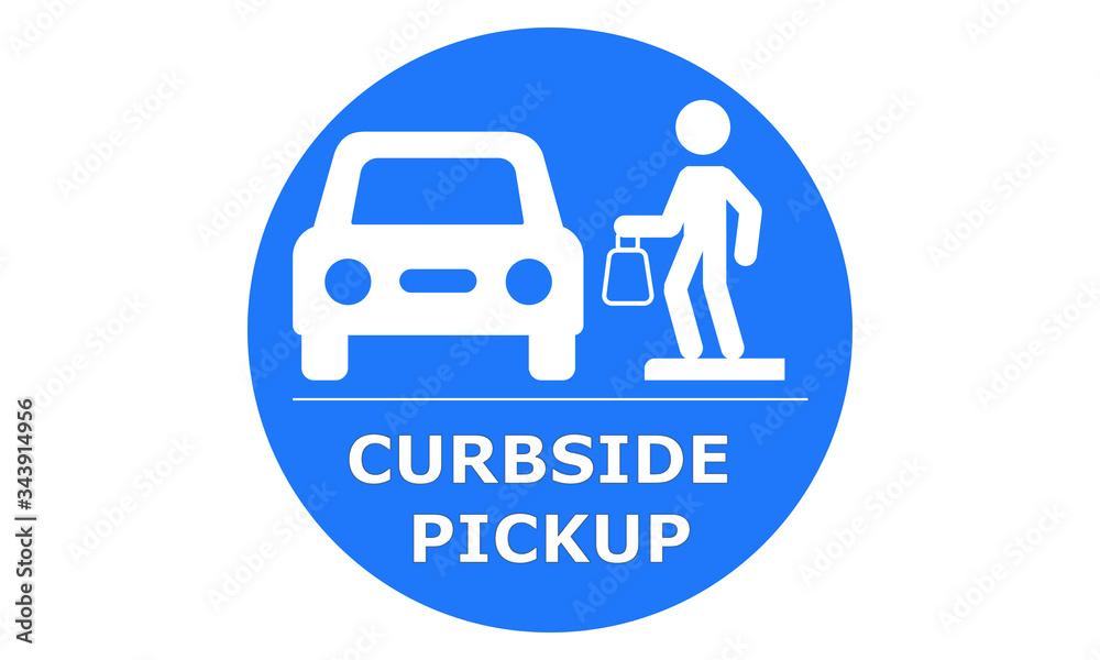 Fototapeta Curbside Pickup illustrated vector clip art sign symbolizing a designated area