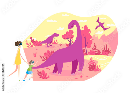 People in virtual reality VR glasses travel in time to see living dinosaurs, vector illustration Fototapet
