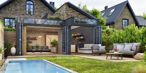 Obraz Modern patio outdoor with swimming pool. Modern house interior and exterior design - fototapety do salonu