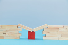 Bridge Help. Safety Net. Financial Help. Business Support. Wooden Planks On Red Cube Between Bridge Gap, Copy Space