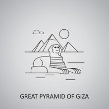 Great Pyramid Of Giza Icon. Flat Design Of Pyramids Giza